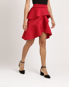 Utopia Ruffle Scuba Skirt Red