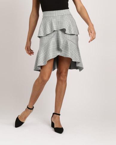 Utopia Ruffle Scuba Skirt Check/Printed