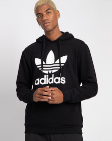 adidas Mens Over The Head Hoodie Black/White