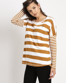 Elm Stripe Longsleeve Top Mustard/White