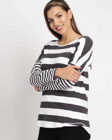 Elm Stripe Longsleeve Top Charcoal/White
