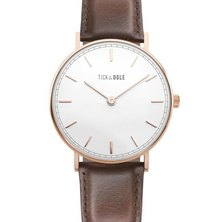 Tick & Ogle Mens Watch Herman Leather Rose Gold-tone/White Moro