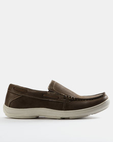 Grasshoppers Chester Leather Slip Ons Coffee