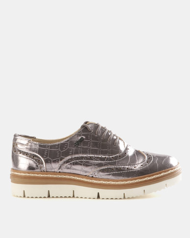 PLUM Boyfriend Metallic Gwen Lace Up Shoes Pewter