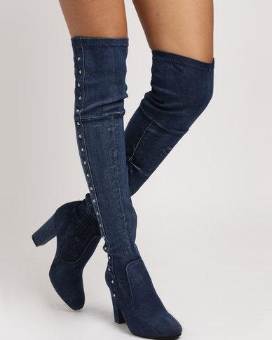PLUM PLUM Denim Long Boots Blue outlet locations sale online outlet popular zDq5LOqik6