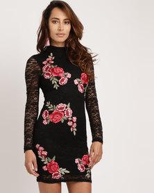 Utopia Milk Lace Dress with Applique Black