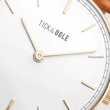 Tick & Ogle Mens Watch Herman Leather Gold White Cognac