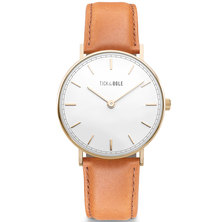 Tick & Ogle Mens Watch Herman Leather Gold White Cognac