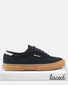 e31b7c496413fd Superga Full Suede Leather Trim Sneakers 066 Blue Deep Navy