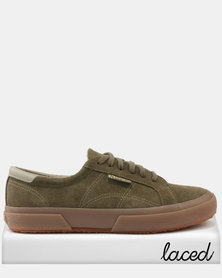 Superga Superga Full Suede Leather Trim Sneakers 591 Green Forest cheap collections 4GszJ