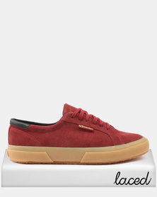 Superga Full Suede Leather Trim Sneakers 541 Brown Bordeaux