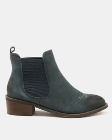 Dolce Vita Laredo-703 Leather Ankle Boots Navy