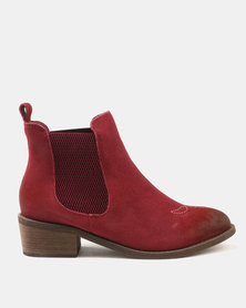 Dolce Vita Laredo-703 Leather Ankle Boots Burgundy