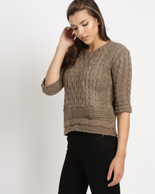 Utopia Cable Cropped Jumper Oatmeal