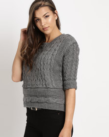 Utopia Cable Cropped Jumper Grey