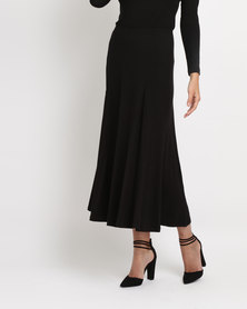 Utopia Brushed Poly Spandex Godet Skirt Black