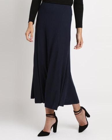 Utopia Brushed Poly Spandex Godet Skirt Navy