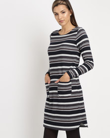 cath.nic By Queenspark Striped Cashmillion Knit Dress Navy