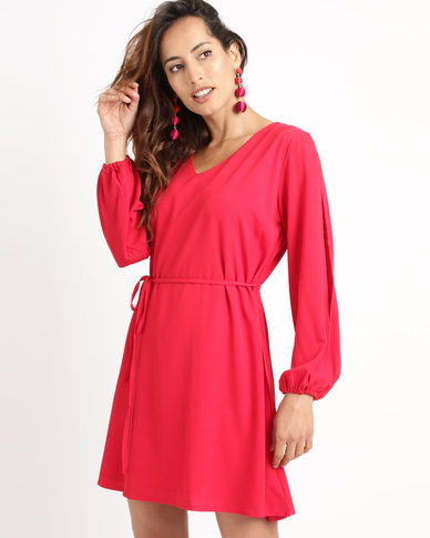 Utopia Tunic Dress With Split Sleeves Red
