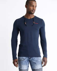 Soviet M Preston Long Sleeve V-Neck Muscle Tee With Draw Cord Navy