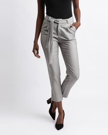 Colorado Cropped Belted Trousers Grey
