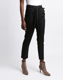 Colorado Cropped Belted Trousers Black