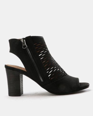 69ae00a40fd SOA Samantha Block Heel Peep Toe Shoes Black