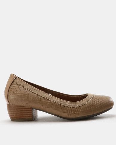 SOA Amber Block Heel Pumps Taupe