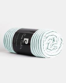 Pierre Cardin Sherpa/Flannel Throw Green