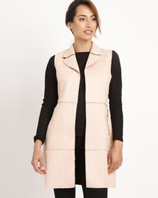 G Couture Suede Waistcoat Light Dusty Pink
