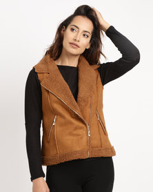 G Couture Zip Suede Jacket Rust
