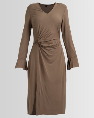 G Couture Knot Front Dress With Sleeves Olive