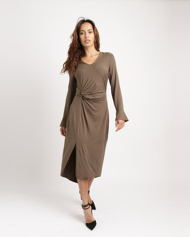 cff334d333053 G Couture Knot Front Dress With Sleeves Olive | Zando