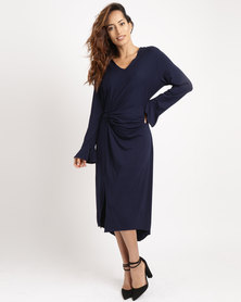 G Couture Knot Front Dress With Sleeves Navy