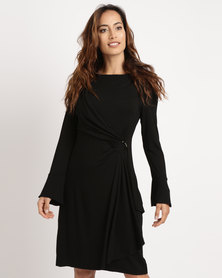 G Couture Mock Wrap Dress with Sleeves Black