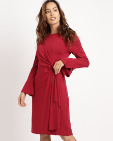G Couture Mock Wrap Dress with Sleeves Burgundy