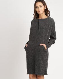 G Couture Pleat Front Tunic With Extended Sleeves Charcoal