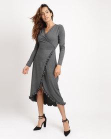 G Couture Functional Wrap Dress Grey Melange