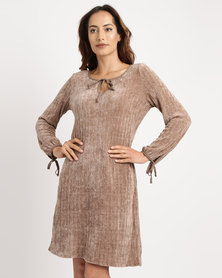 G Couture Suede Knitted Tunic Dress Taupe