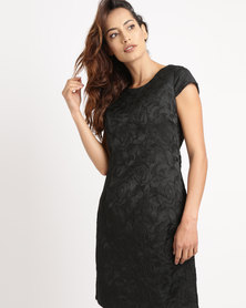 G Couture Cap Sleeve Shift Dress Black