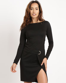 G Couture Cross Over Buckle Dress Black