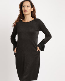 G Couture Flared Sleeve Knit Dress Black