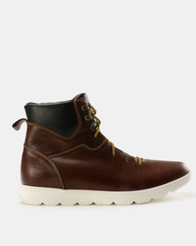 New Port Var005 Lace Up Ankle Boot Brown Carvano/Black Tempest
