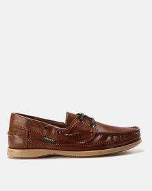 New Port Var005 Lace Up Slip On Shoe Mid-Brown Santiago