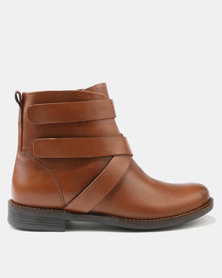 Step on Airs Bertha Leather Ankle Boots Tan