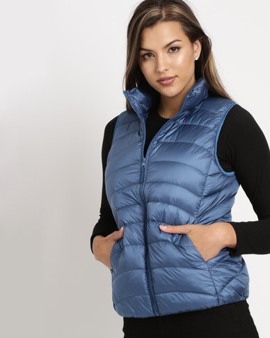 G Couture Sleeveless Jacket Blue