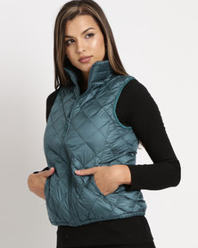 G Couture Sleeveless Jacket Teal Green