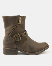 Jeep Arctic Flat Ankle Boots Brown
