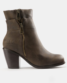 Jeep Lama Heeled Ankle Boots Brown
