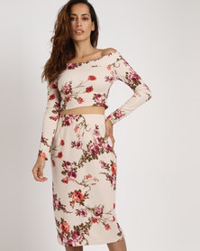 Black Buttons Floral Crop And Pencil Skirt Cream